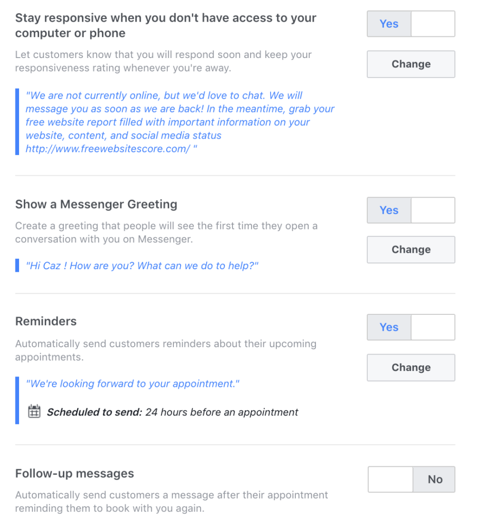 how to enable instant reply facebook