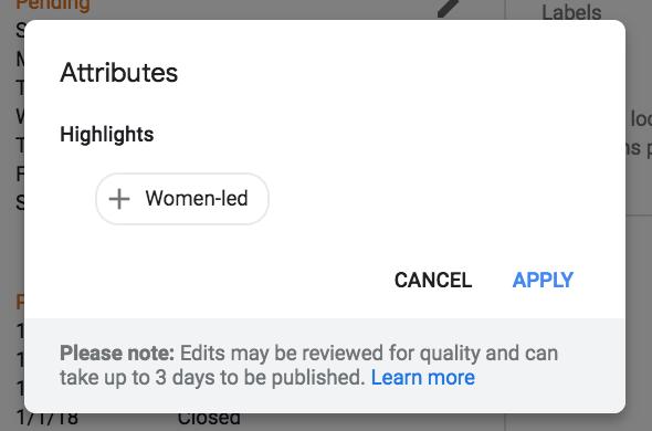 Women led Attributes screenshot
