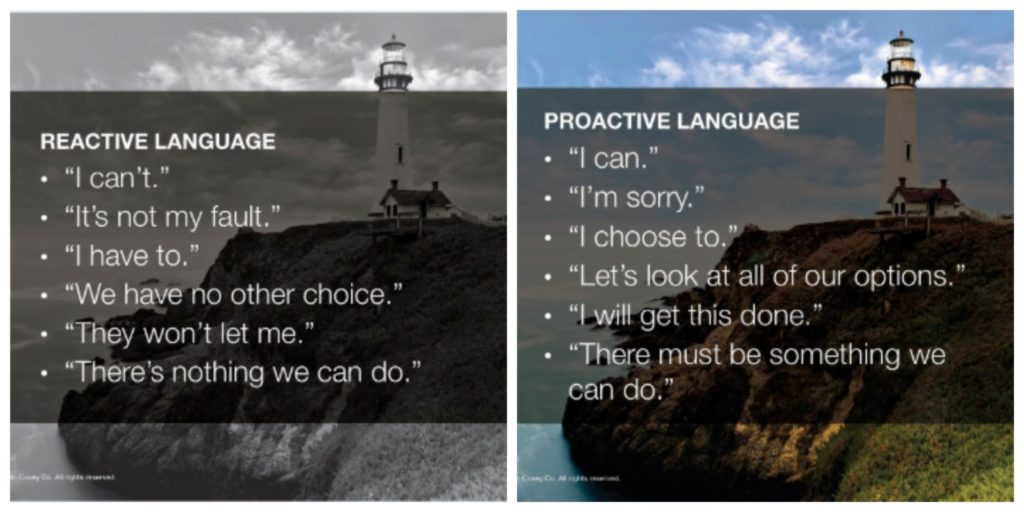 The difference between reactive and proactive language.