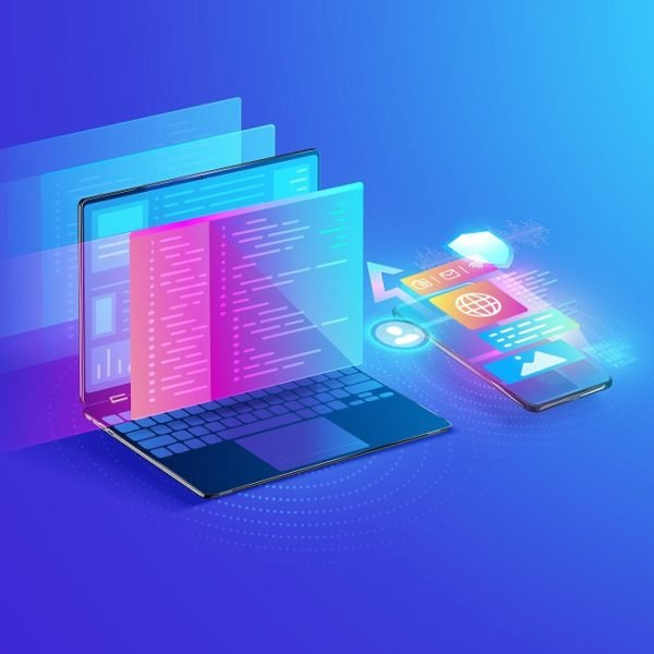 Web development, application design, coding and programming on laptop and smartphone concept with programming language and program code and layout on screen Illustration