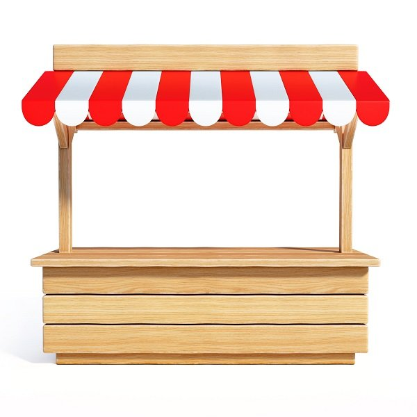 local business market stall with striped awning