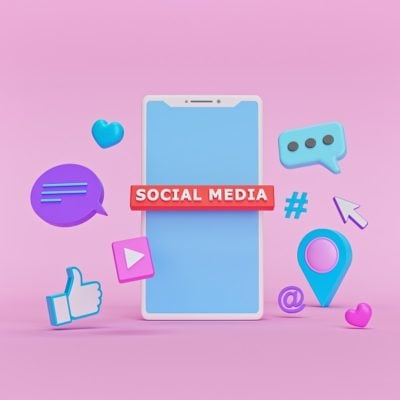 social network Icons with a smartphone. abstract trendy design for social media advertising. technology concept. 3d rendering