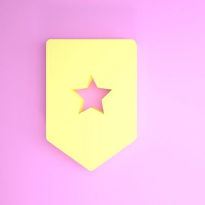Yellow Chevron icon isolated on pink background. Military badge sign. Minimalism concept. 3d illustration 3D render